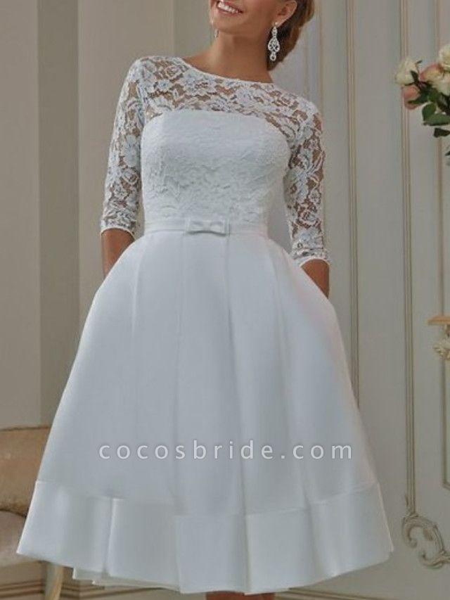 A-Line Wedding Dresses Off Shoulder Knee Length Tulle Half Sleeve Formal Plus Size Illusion Sleeve