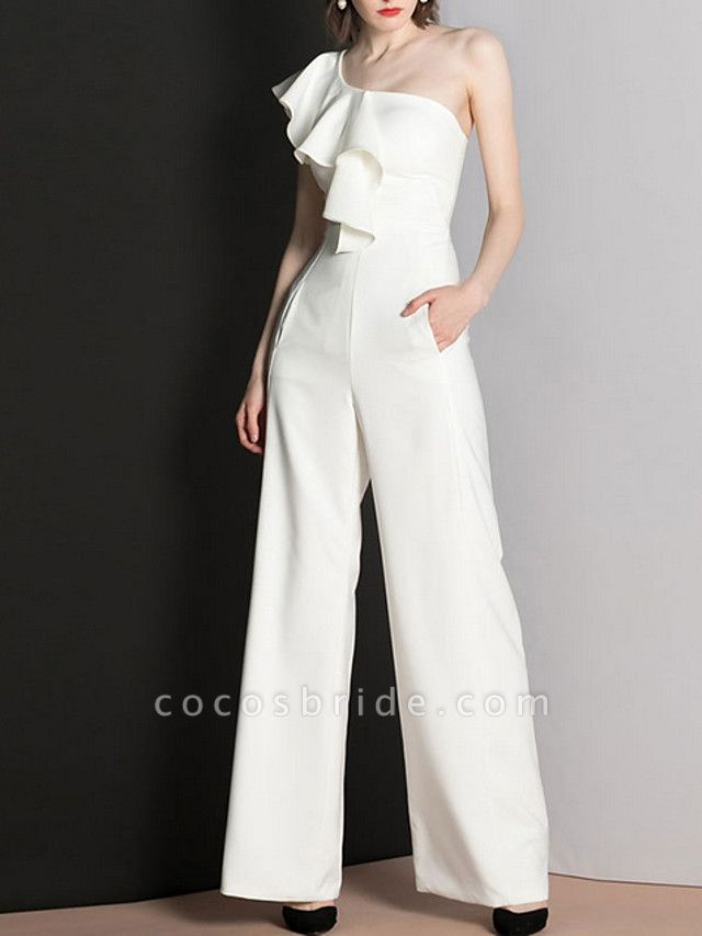 Jumpsuits Wedding Dresses One Shoulder Floor Length Polyester Cap Sleeve Romantic Modern