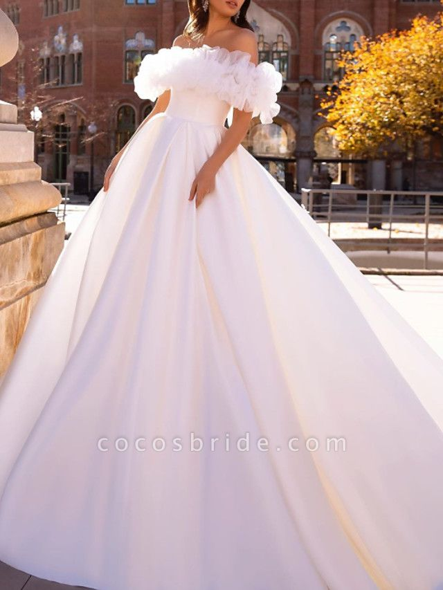 Ball Gown Wedding Dresses Off Shoulder Sweep \ Brush Train Satin Tulle Short Sleeve Formal