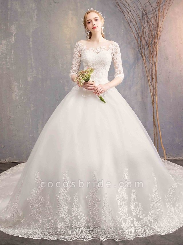 Ball Gown Wedding Dresses Jewel Neck Chapel Train Tulle Lace Over Satin Half Sleeve Illusion Sleeve