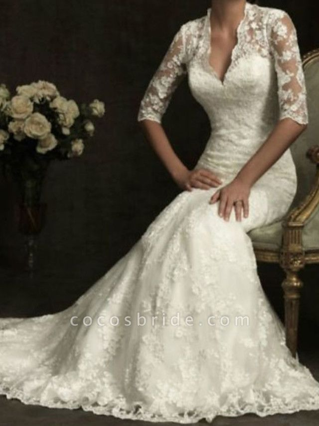 Sheath \ Column Wedding Dresses V Neck Sweep \ Brush Train Lace Half Sleeve Illusion Sleeve
