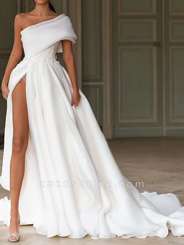 A-Line One Shoulder Sweep \ Brush Train Chiffon Over Satin Short Sleeve Simple Modern Wedding Dresses