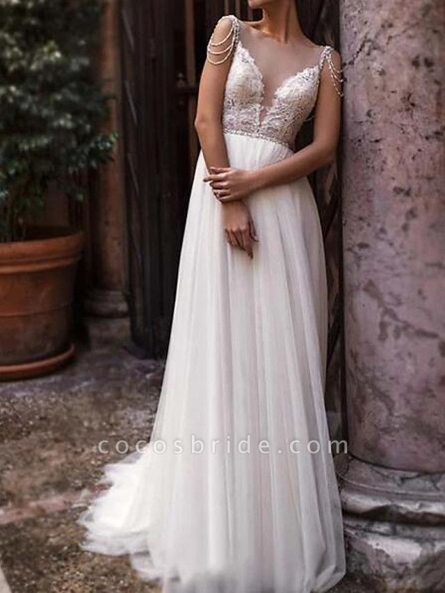 A-Line Wedding Dresses Jewel Neck Court Train Chiffon Lace Tulle Sleeveless Beach Boho Sexy See-Through