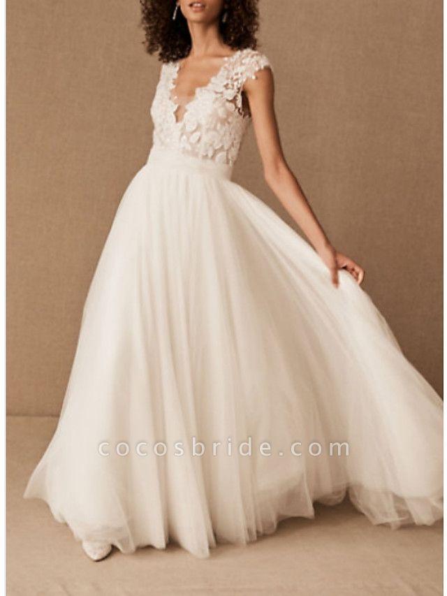 A-Line Wedding Dresses V Neck Court Train Lace Tulle Cap Sleeve