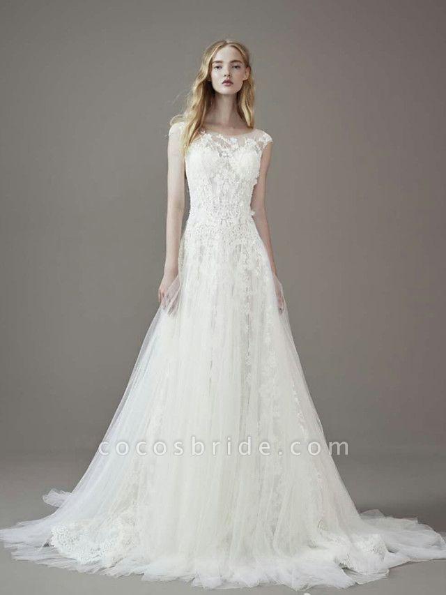 A-Line Jewel Neck Court Train Lace Tulle Short Sleeve Wedding Dresses