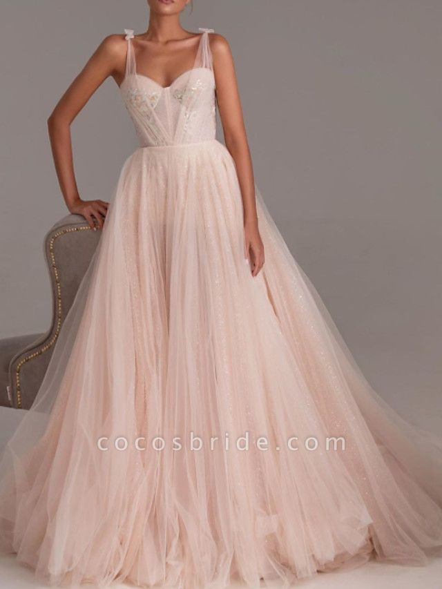 A-Line Wedding Dresses Sweetheart Neckline Spaghetti Strap Floor Length Lace Tulle 3\4 Length Sleeve Romantic Wedding Dress in Color