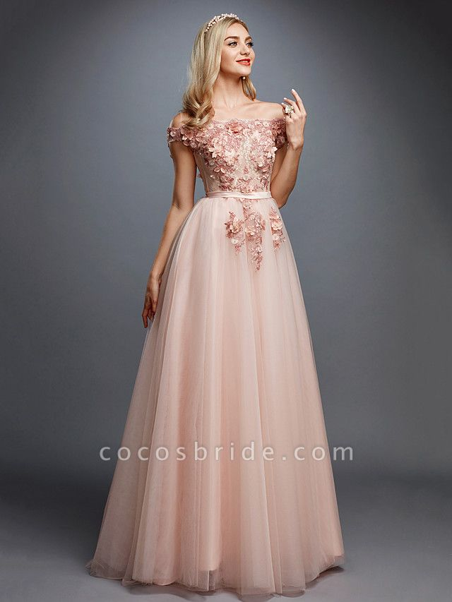 A-Line Floral Pink Prom Formal Evening Dress Off Shoulder Sleeveless Sweep \ Brush Train Tulle Over Lace
