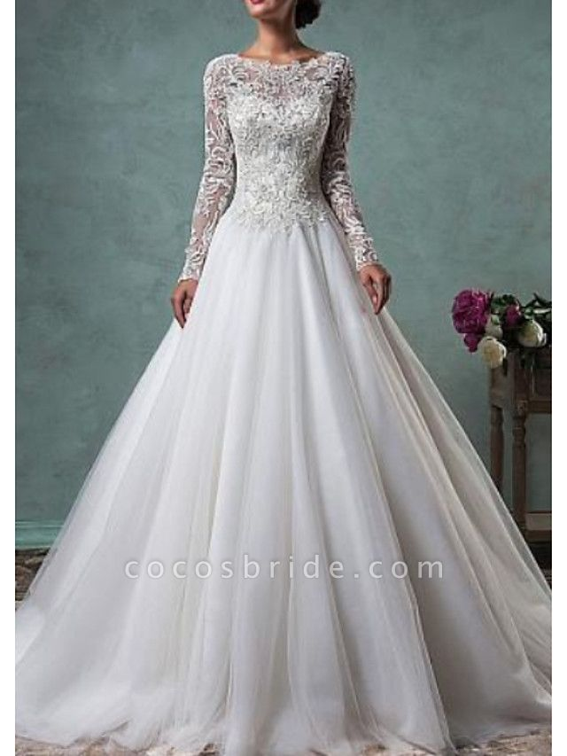 A-Line Wedding Dresses Jewel Neck Sweep \ Brush Train Lace Tulle Long Sleeve Glamorous Backless Illusion Sleeve