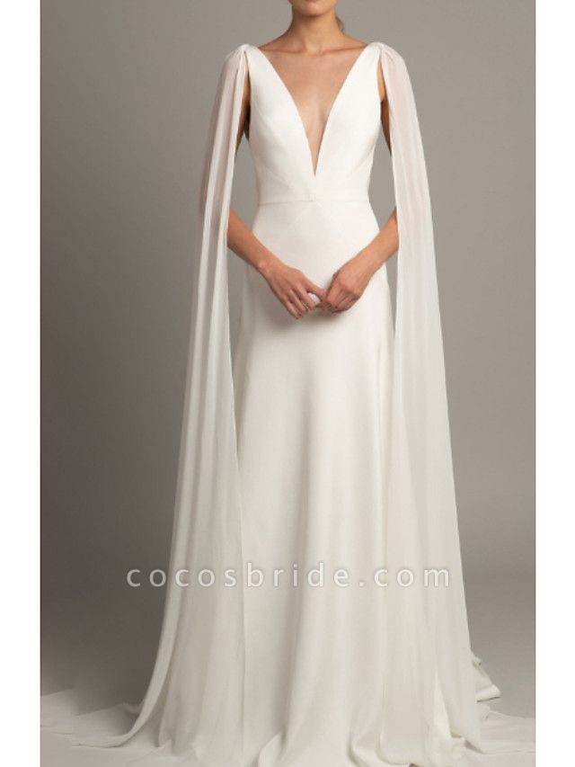 A-Line Wedding Dresses V Neck Court Train Tulle Stretch Satin Regular Straps Cape