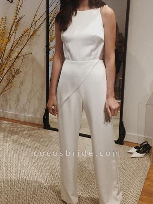 Jumpsuits Wedding Dresses Jewel Neck Floor Length Satin Sleeveless Simple Sexy Backless Modern