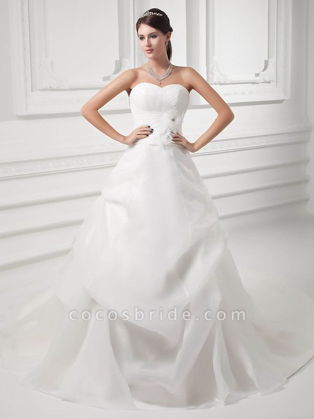 A-Line Sweetheart Neckline Chapel Train Organza Satin Strapless Wedding Dresses