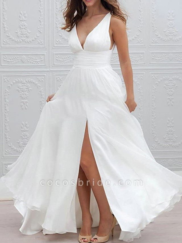 A-Line Wedding Dresses Plunging Neck Sweep \ Brush Train Chiffon Taffeta Stretch Satin Sleeveless Country Plus Size