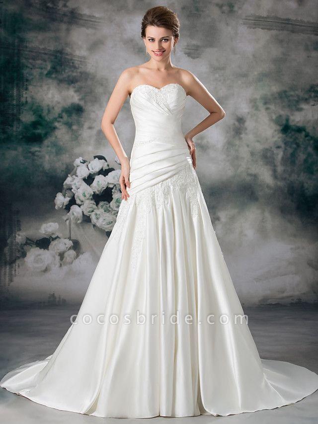 A-Line Sweetheart Neckline Chapel Train Lace Satin Strapless Wedding Dresses