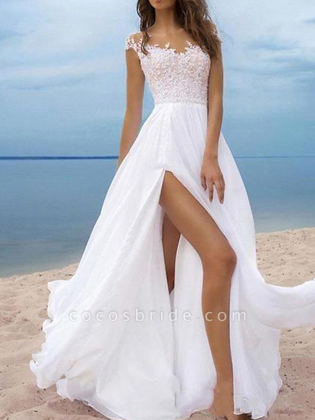 A-Line Wedding Dresses Off Shoulder Sweep \ Brush Train Chiffon Cap Sleeve