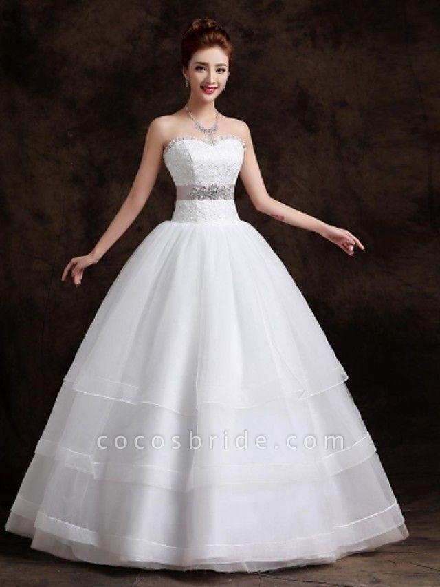 Ball Gown Wedding Dresses Sweetheart Neckline Floor Length Organza Tulle Sleeveless