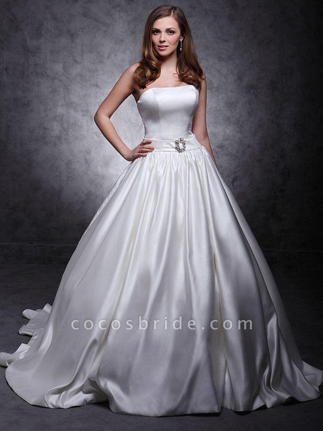 Princess Wedding Dresses Strapless Chapel Train Satin Sleeveless