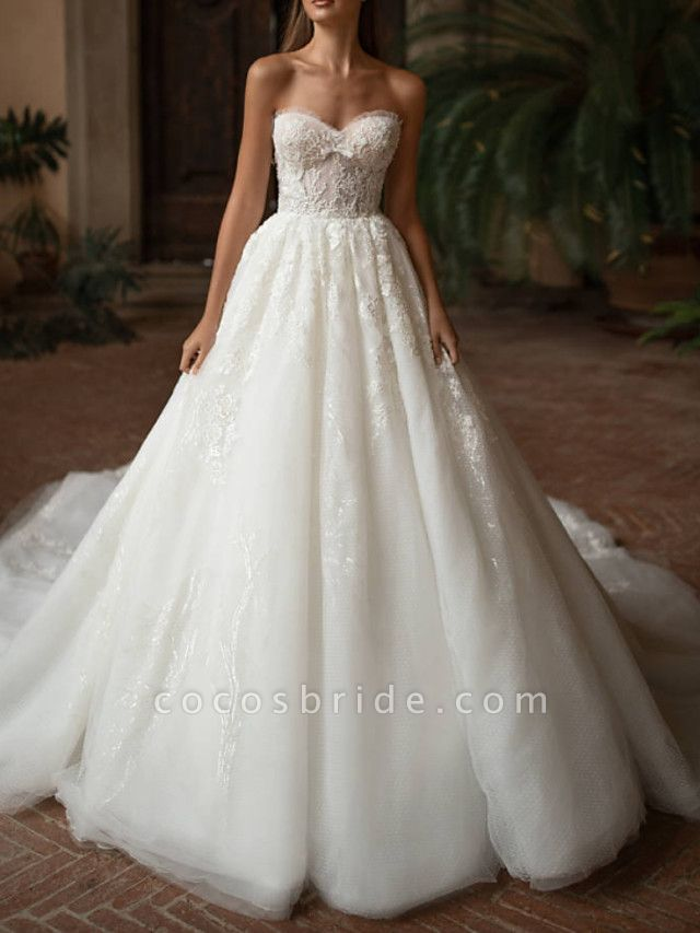 Ball Gown Wedding Dresses Strapless Sweep \ Brush Train Lace Tulle Strapless Formal Plus Size