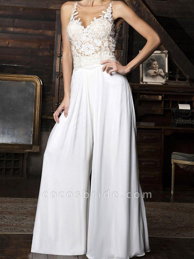 Jumpsuits Wedding Dresses V Neck Floor Length Chiffon Sleeveless Vintage Sexy