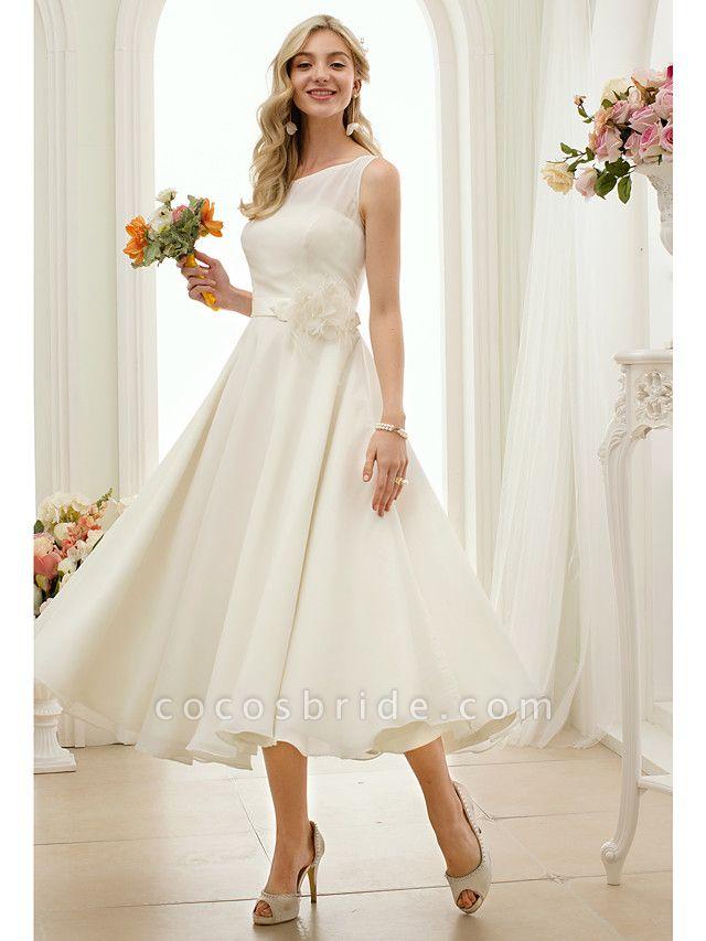 A-Line Wedding Dresses Bateau Neck Tea Length Chiffon Regular Straps Vintage Little White Dress 1950s
