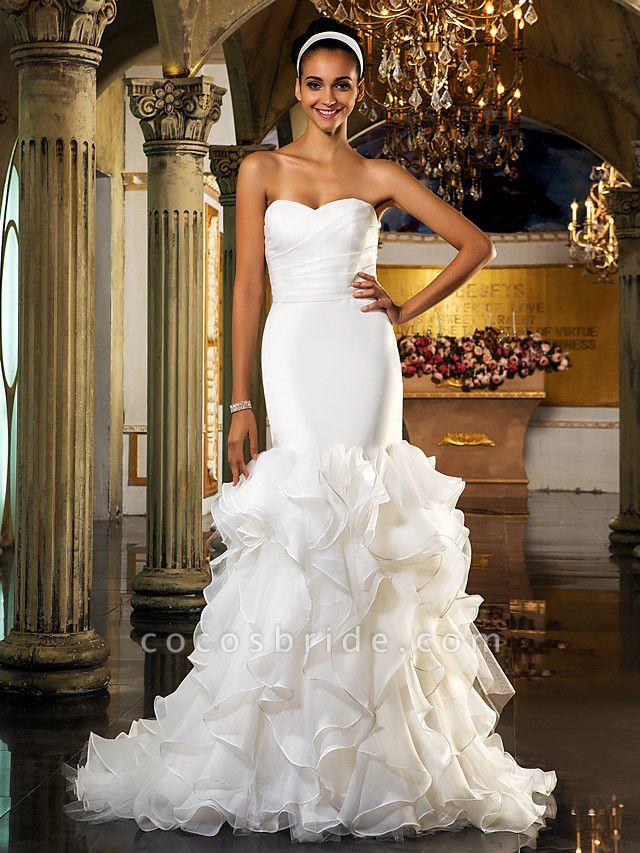 Mermaid \ Trumpet Wedding Dresses Sweetheart Neckline Sweep \ Brush Train Organza Tulle Cap Sleeve Formal Separate Bodies