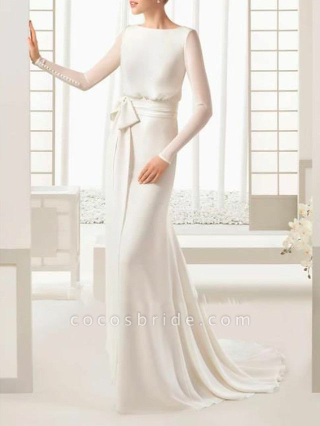 Sheath \ Column Wedding Dresses Bateau Neck Sweep \ Brush Train Floor Length Satin Tulle Long Sleeve Simple Elegant