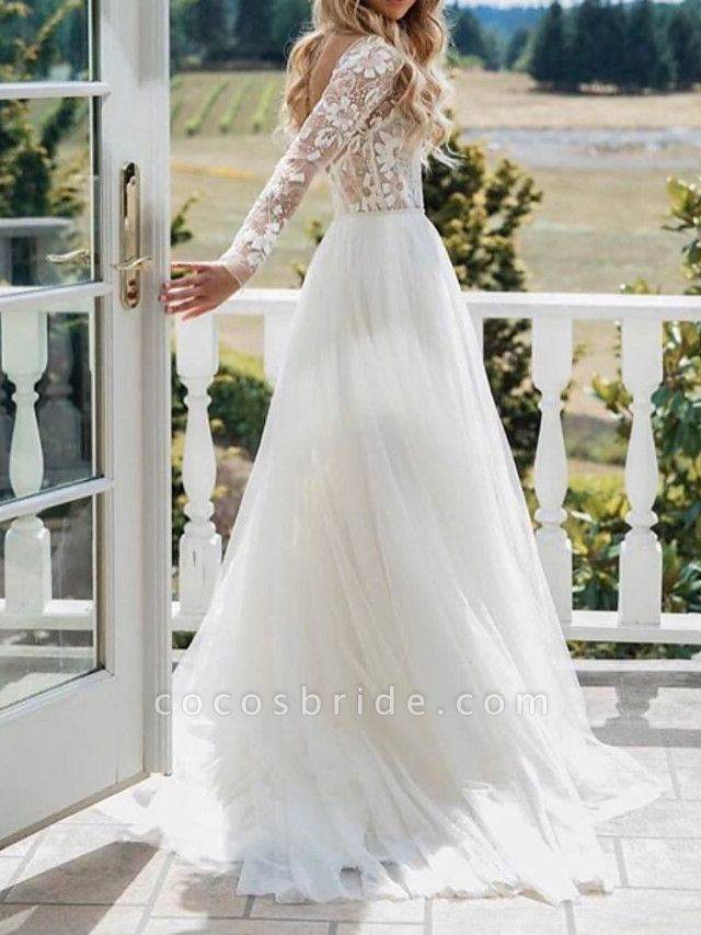 A-Line Wedding Dresses V Neck Sweep \ Brush Train Polyester Long Sleeve Sexy Plus Size