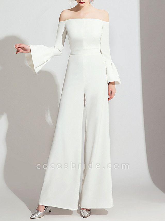 Jumpsuits Wedding Dresses Off Shoulder Floor Length Polyester Long Sleeve Formal Simple