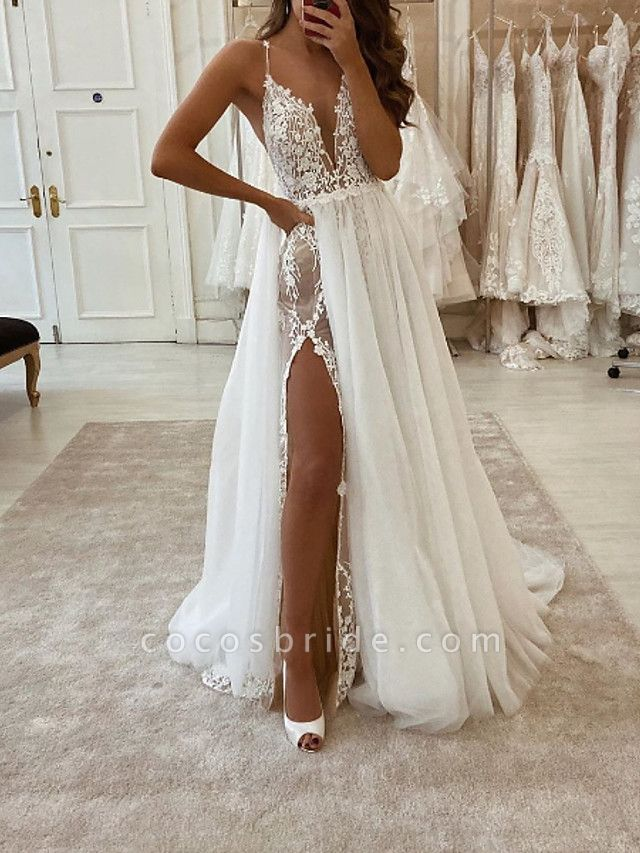 Two Piece A-Line Wedding Dresses V Neck Spaghetti Strap Sweep \ Brush Train Tulle Polyester Sleeveless Country Plus Size
