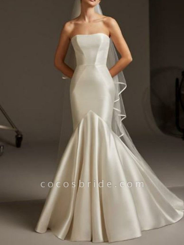 Mermaid \ Trumpet Wedding Dresses Strapless Floor Length Satin Strapless Plus Size