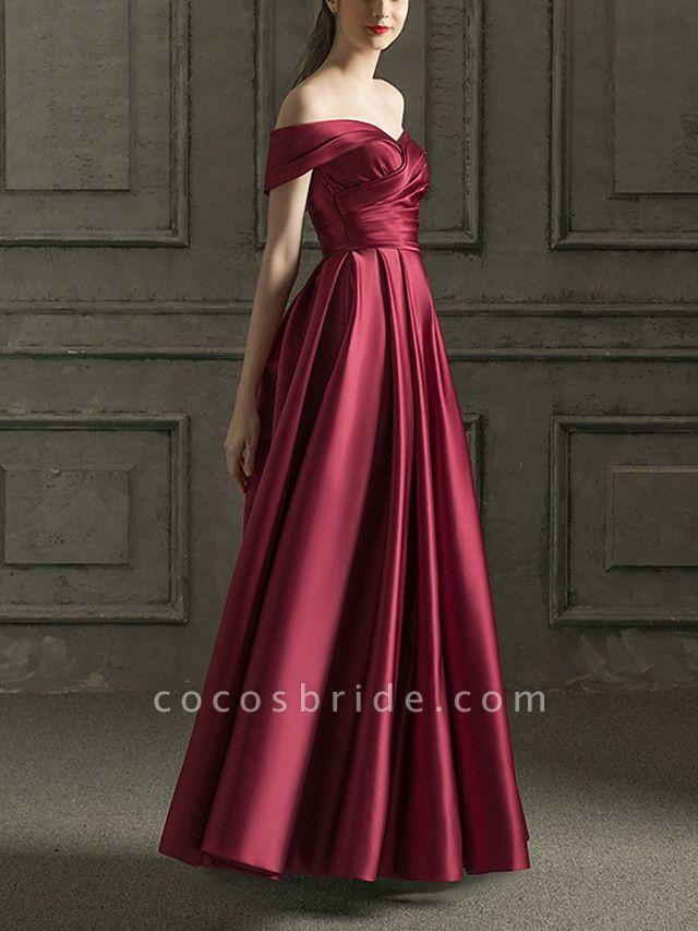 A-Line Wedding Dresses Off Shoulder Floor Length Satin Short Sleeve Beach Wedding Dress in Color