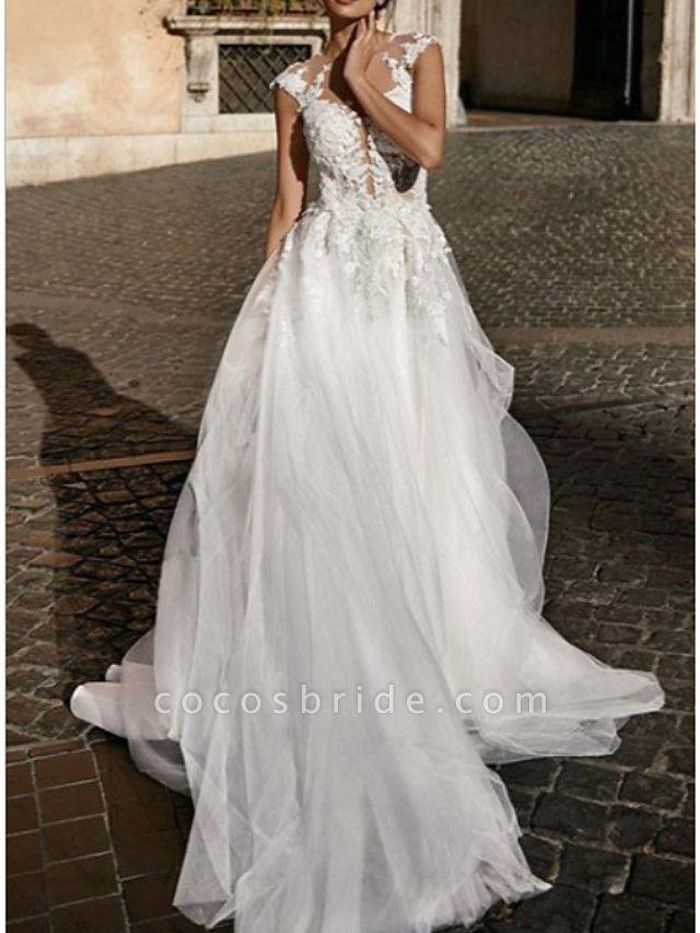 A-Line Wedding Dresses V Neck Court Train Lace Tulle Cap Sleeve Boho