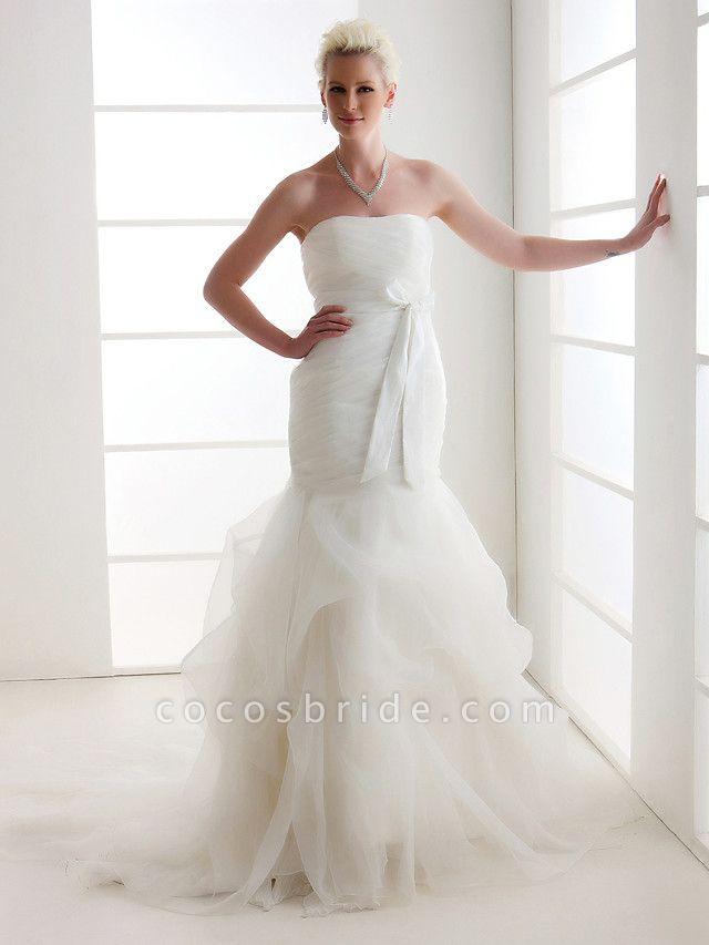 Mermaid \ Trumpet Wedding Dresses Strapless Court Train Organza Satin Sleeveless
