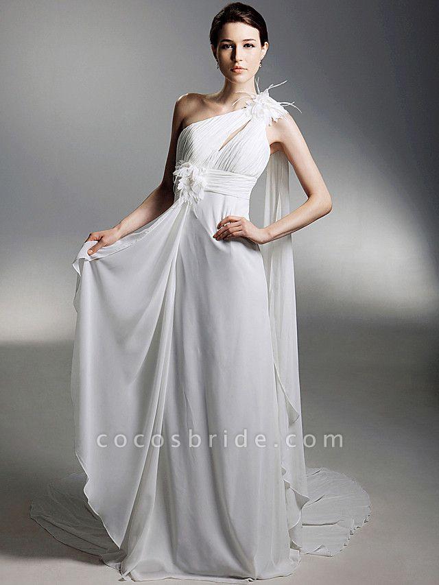 Sheath \ Column Wedding Dresses One Shoulder Watteau Train Chiffon Sleeveless