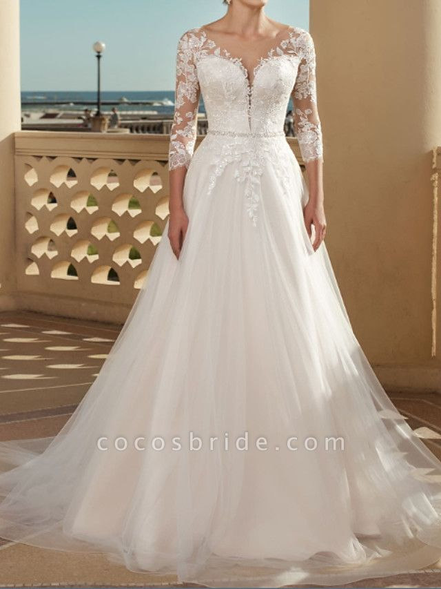 A-Line Wedding Dresses V Neck Sweep \ Brush Train Lace Tulle 3\4 Length Sleeve Country Plus Size