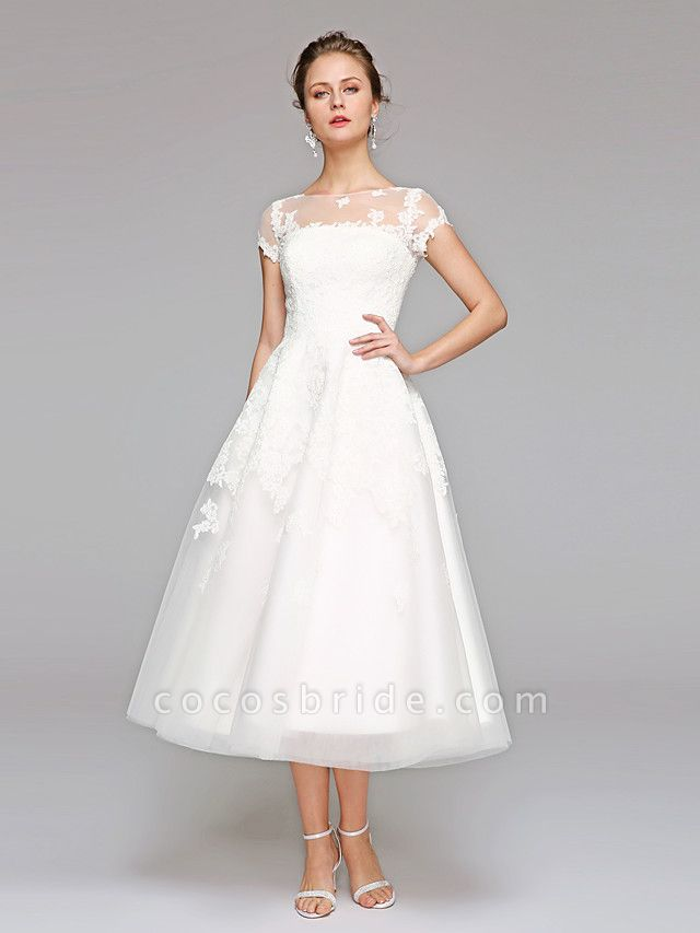 Ball Gown Wedding Dresses Bateau Neck Tea Length Lace Over Tulle Short Sleeve Formal Casual Illusion Detail Cute