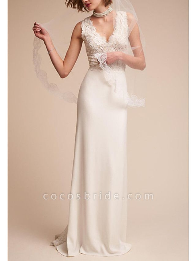A-Line Wedding Dresses V Neck Sweep \ Brush Train Tulle Regular Straps