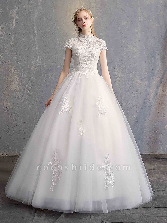 Ball Gown Wedding Dresses High Neck Floor Length Lace Tulle Lace Over Satin Short Sleeve Vintage Illusion Sleeve