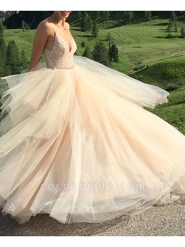 A-Line Wedding Dresses V Neck Spaghetti Strap Sweep \ Brush Train Lace Tulle Sleeveless Sexy