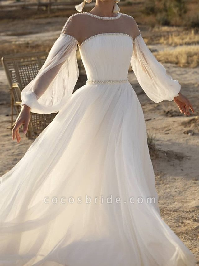 A-Line Wedding Dresses Jewel Neck Sweep \ Brush Train Lace Chiffon Over Satin Long Sleeve Country See-Through