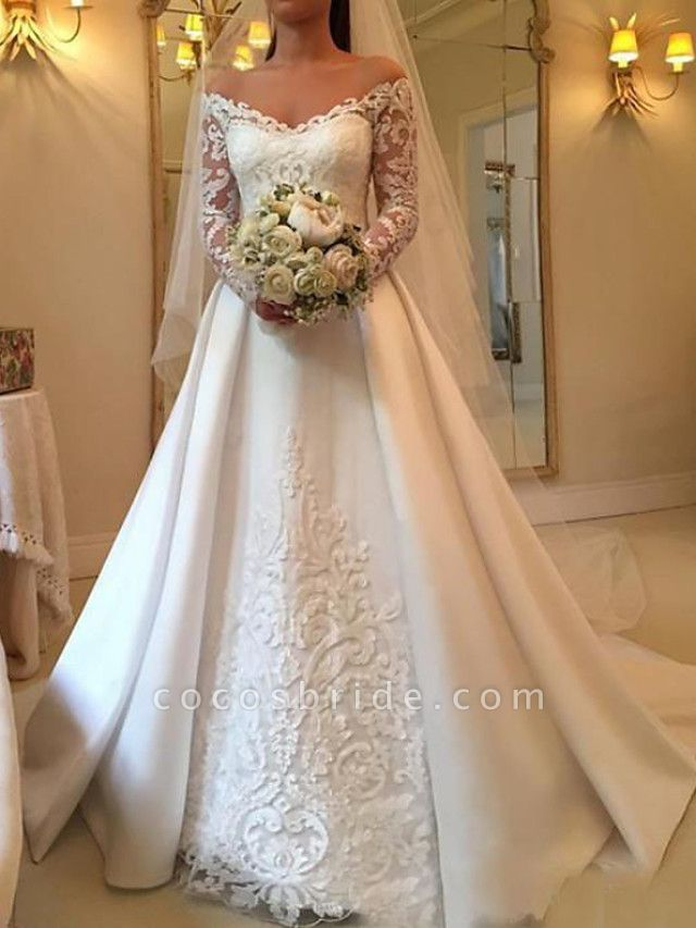 A-Line Wedding Dresses Off Shoulder Sweep \ Brush Train Satin Long Sleeve Illusion Sleeve