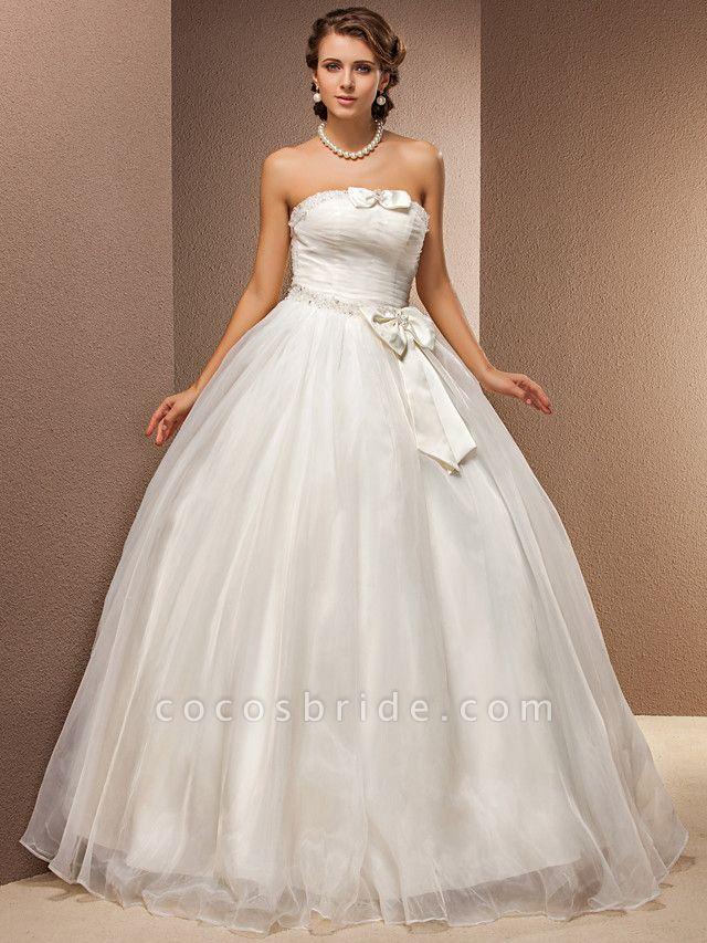 Ball Gown Wedding Dresses Strapless Floor Length Tulle Sleeveless