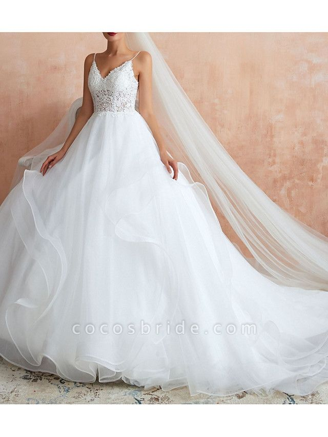 A-Line V Neck Court Train Lace Tulle Sleeveless Sexy See-Through Illusion Detail Wedding Dresses