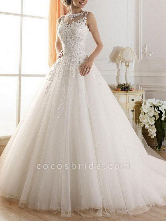 A-Line Wedding Dresses Jewel Neck Sweep \ Brush Train Tulle Regular Straps Glamorous Illusion Detail Backless
