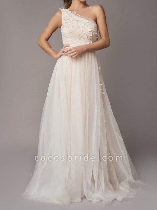A-Line Wedding Dresses One Shoulder Sweep \ Brush Train Tulle Sleeveless Country Backless