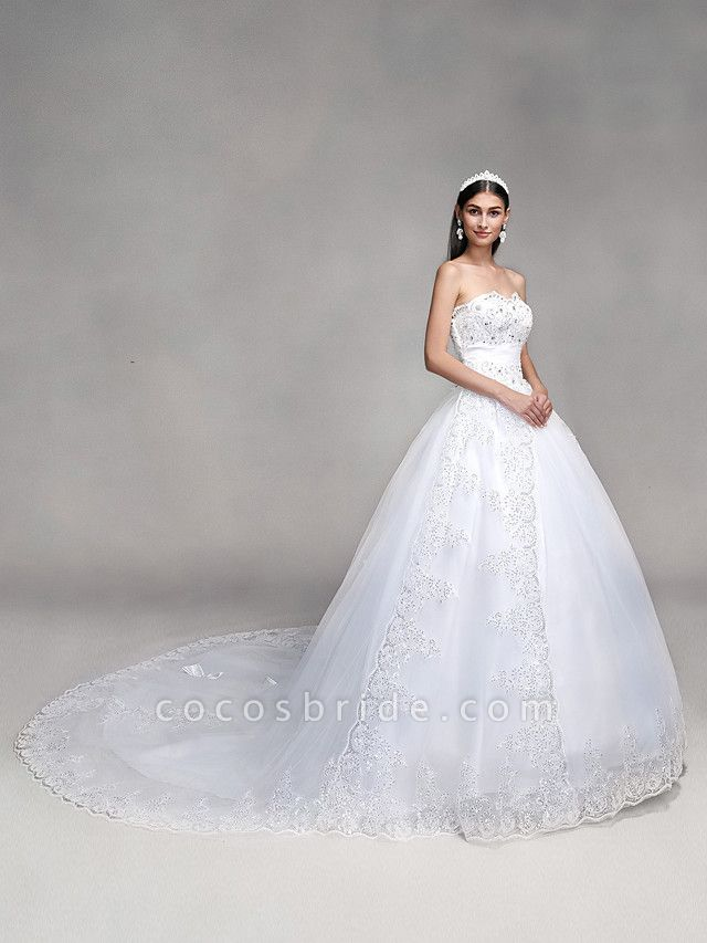 Ball Gown Wedding Dresses Sweetheart Neckline Sweep \ Brush Train Tulle Over Lace Strapless Country Glamorous Sparkle & Shine Backless