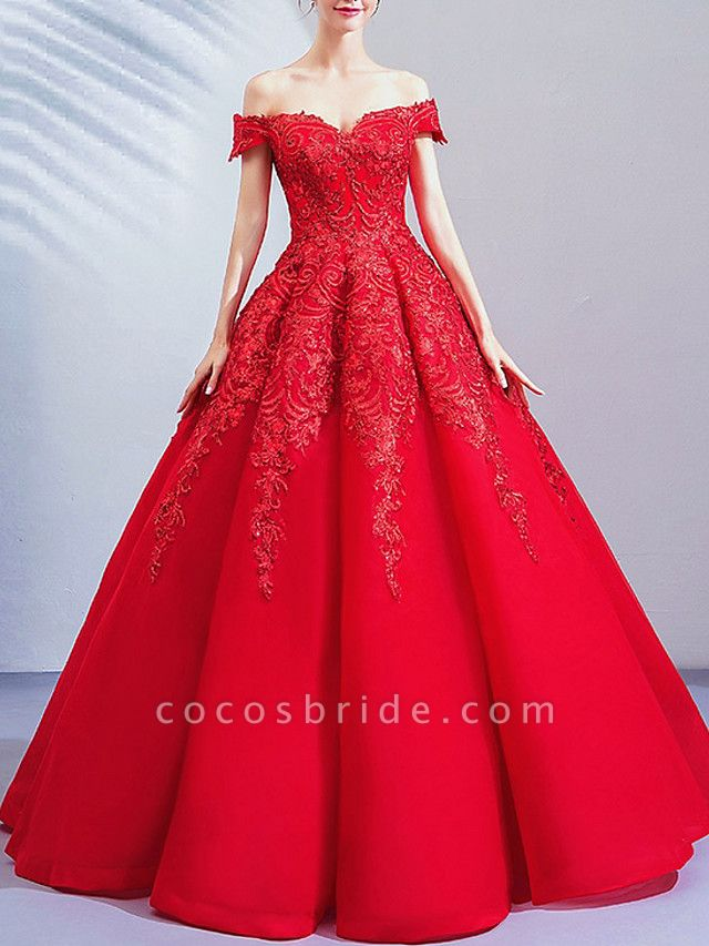 Ball Gown Wedding Dresses Off Shoulder Floor Length Lace Cap Sleeve Romantic Plus Size Red