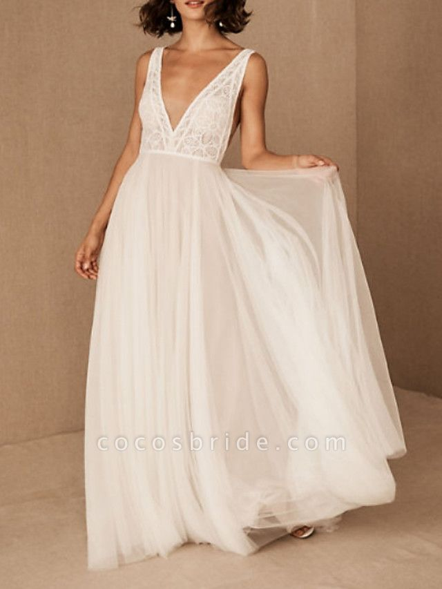 A-Line Wedding Dresses V Neck Floor Length Tulle Polyester Sleeveless Casual Boho Plus Size