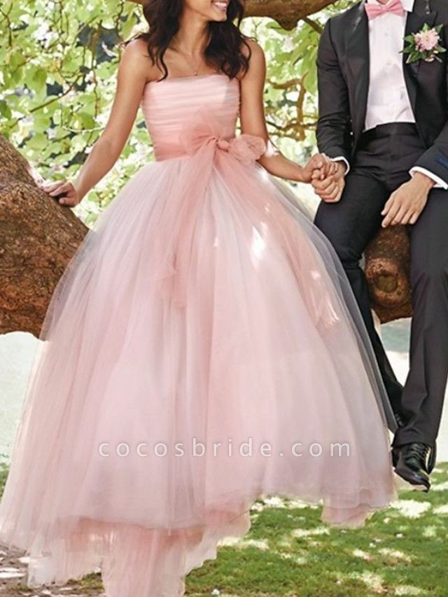 A-Line Wedding Dresses Strapless Sweep \ Brush Train Tulle Sleeveless Country Wedding Dress in Color