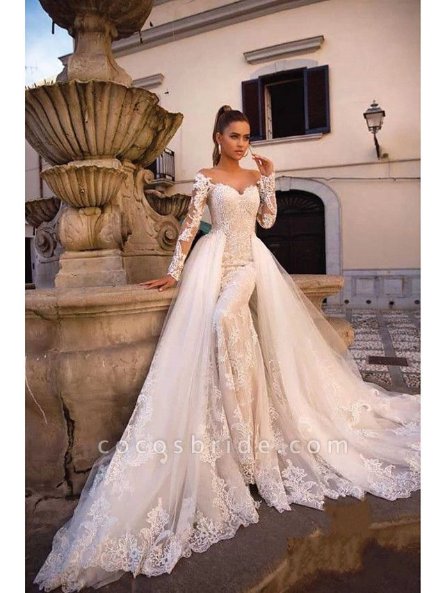 Ball Gown Mermaid \ Trumpet Sweetheart Neckline Court Train Lace Tulle Lace Over Satin Long Sleeve Sexy Plus Size Modern Detachable Wedding Dresses