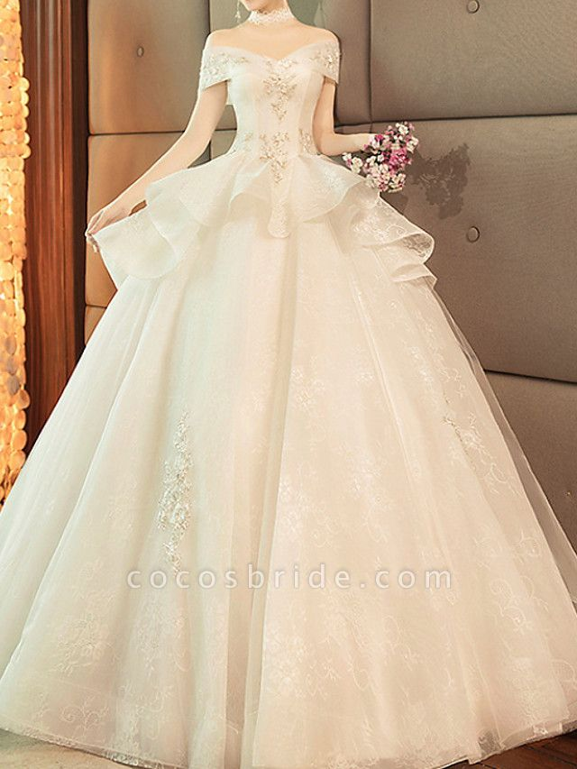 Ball Gown Wedding Dresses Off Shoulder Sweep \ Brush Train Lace Tulle Short Sleeve Glamorous Modern